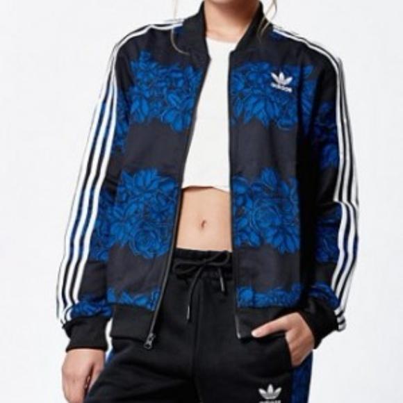 Womens Adidas Originals Blue Floral Track Jacket